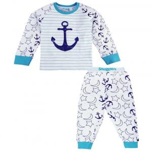 Snuggles White & Blue Cotton Night Suit
