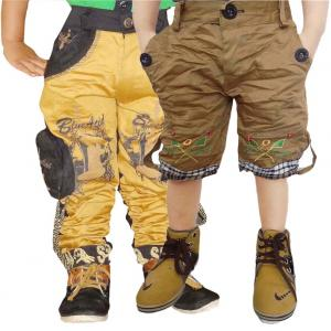 Ad & Av Cotton Blend Yellow Cargo With Brown Crush Half Pant