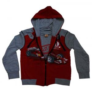 Color Kids Red & Gray Cotton Hooded Jacket