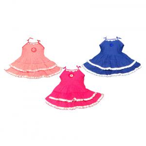 Ftc Multicolor Cotton Frock - Set Of 3