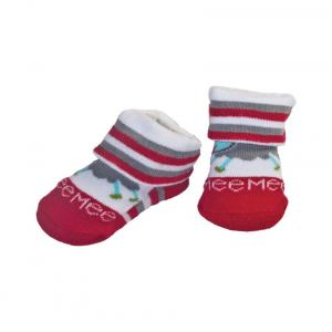 Mee Mee Cotton White & Red Socks