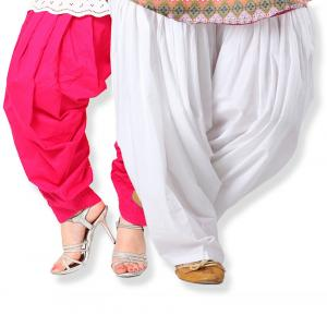 Stylobby Pink And White Cotton Full Patiala Salwar