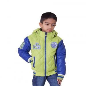 Little Bugs Green Synthetic Full Sleeve Solid Quilted Jacket With Hood