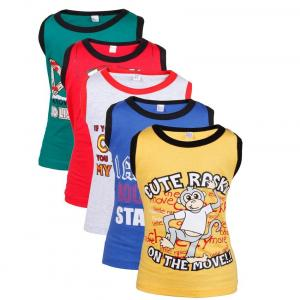 Goodway Junior Boys Pack Of 5 Attitude Printed Vest T-shirts Theme-1