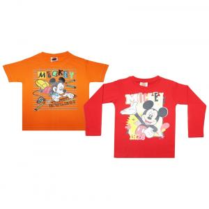 Mickey & Friends Pack Of 2 Orange & Red Graphic Printed T Shirts