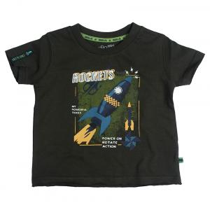 Fs Mini Klub Short Sleeves Olive Green Color Round Neck T-Shirts For Kids
