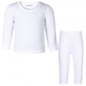 Kanvin Soft Boys White Thermal Set (top And Bottom)