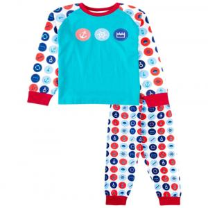 Snuggles Blue & Red Sailor Print Night Suit Set