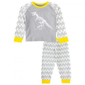 Snuggles Gray & Yellow Dino Print Night Suit Set