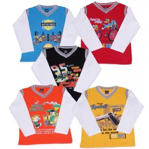 Provalley Full Sleeve Pack Of 5 Printed T-shirt For Kids