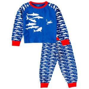 Snuggles Blue & Red Shark Print Night Suit Set