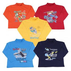 Provalley Pack of 5 Multi Colors Full Sleeves Printed T-Shirts For Kids