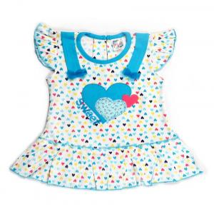 Little Life Baby Frock 100% Cotton (sky) (dn-169) (size: L)