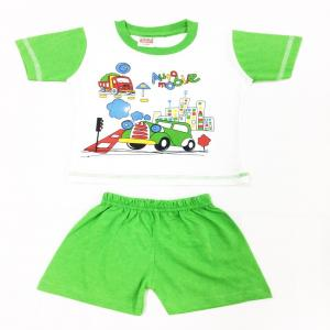 Little Smart Green Cotton Blend T-shirt And Shorts For Boys