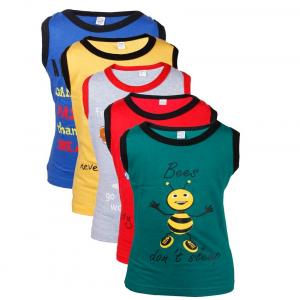 Goodway Junior Boy Pack Of 5 Did You Know Printed Vest T-shirts Theme-1