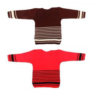 Knitco Pack Of 2 Brown And Red Acrylic Infant Sweater