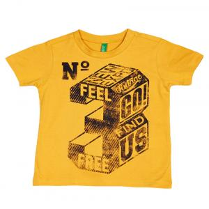 United Colors Of Benetton Yellow Cotton Short Sleeve T-shirt
