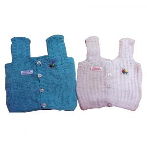 Knitco Hand Knitted Zero Embroidery Baby Vest - Pack Of 2