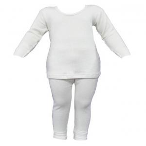 Selfcare White Viscose Thermal Top And Pyjama Set For Baby Boys