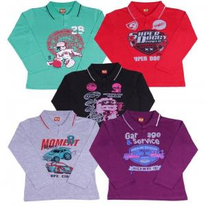 Provalley Pack of 5 Full Sleeve Multi Colors Printed T-Shirts For Kids