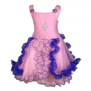 Crazeis Pink And Blue Net Partywear Dress For Baby Girls