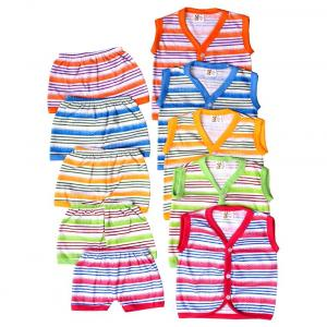Zion Baby Multicolour Cotton Blend Regular Collar Sleeveless T-shirts And Shorts