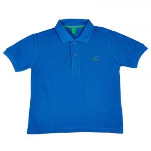 United Colors Of Benetton Blue Cotton Short Sleeve Polo T-shirt