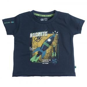 Fs Mini Klub Short Sleeves Midnight Navy Color Round Neck T-Shirts For Kids