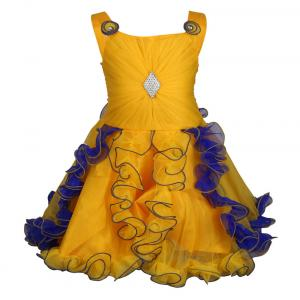 Crazeis Yellow And Blue Net Partywear Dress For Baby Girls