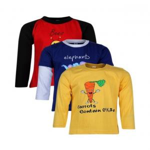 Goodway Junior Boys DYK-3- Red,Royal,Yellow Combo Pack of 3 T-Shirts