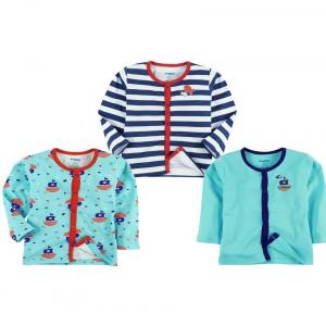 Snuggles Pack Of 3 Light Blue & Navy Blue Printed Cotton T Shirts