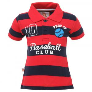 Baby League Red Cotton Half Sleeves Regular Polo T-shirt
