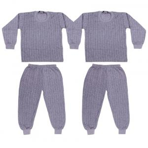 Laser X Gray Cotton Blend Thermal Set - Set Of 2