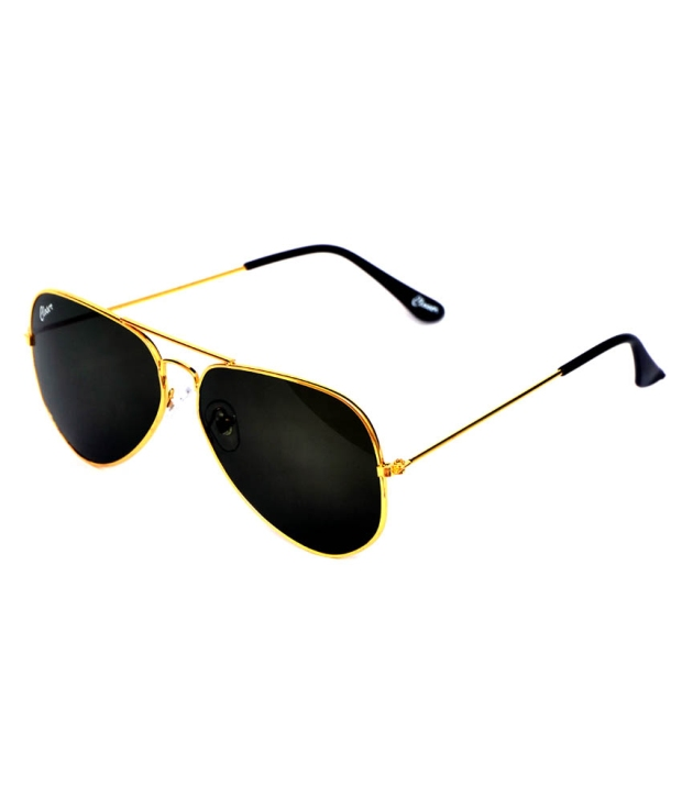Closer Green Metal Aviator Uv Protected Sunglasses For Unisex