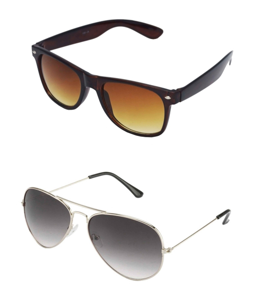 Super-x Sx-combo-01 Brown Polycarbonate Wayfarer And Aviator Sunglasses For Men And Women