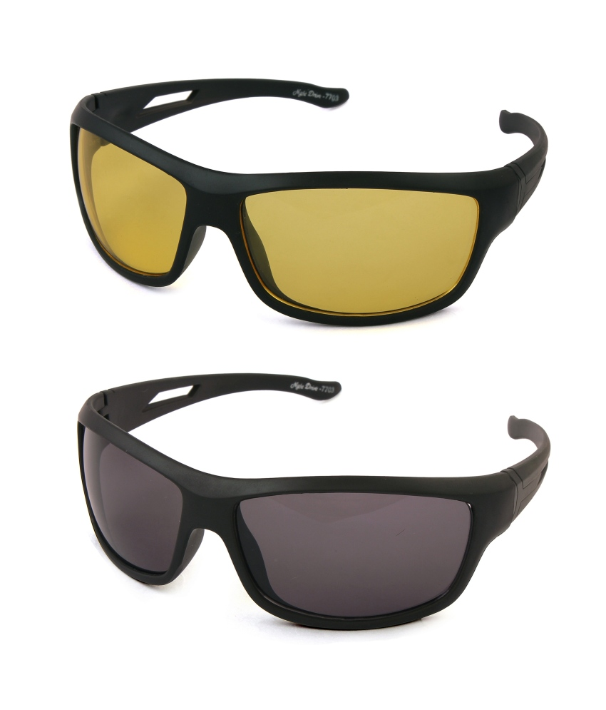 Tim Hawk Day & Night Vision Sunglasses Combo Pack Of 2