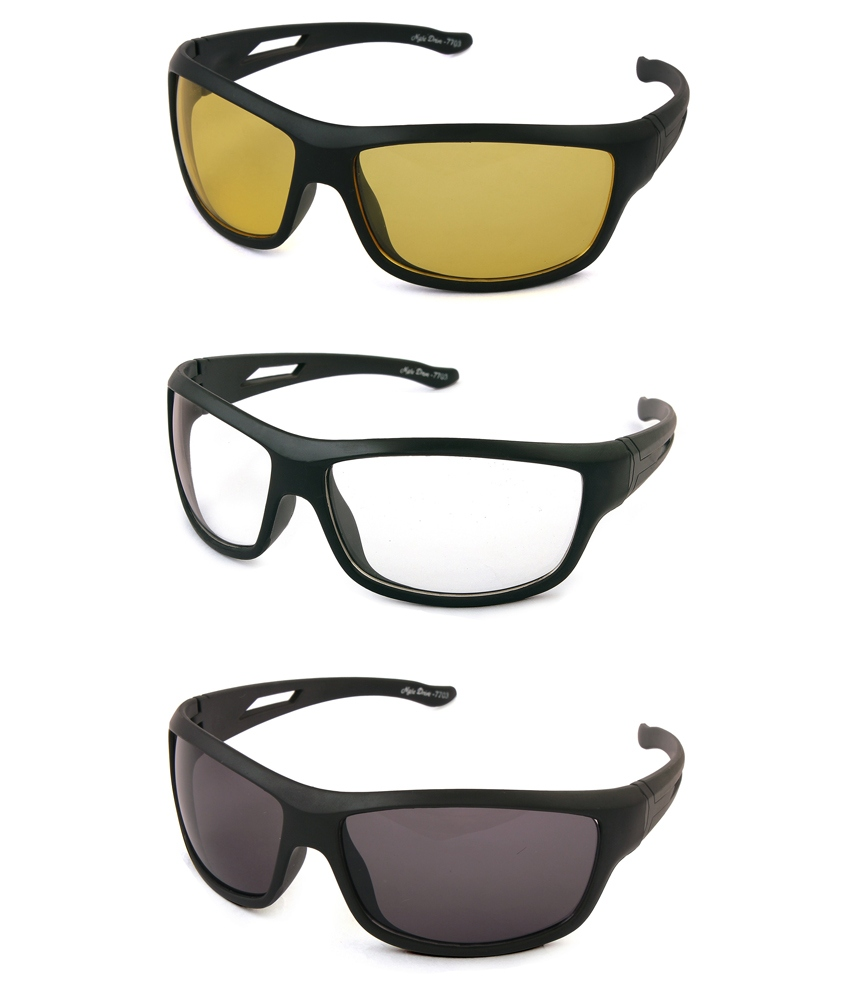 Tim Hawk Grey Wrap Around Day And Night Vision Sunglasses - Pack Of 3
