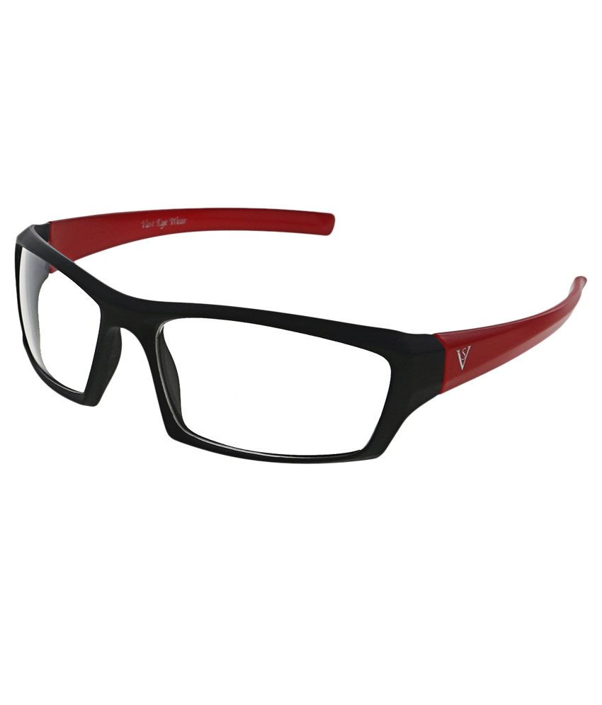 Vast New_nt_black_red_clear Wrap Around Red Polycarbonate Transparent Sunglasses