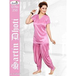 Alluring Satin Patiyala Night Suit Set