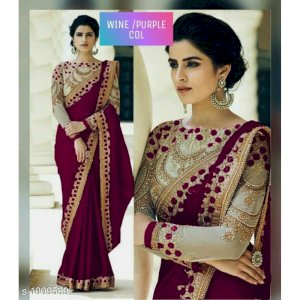 Party Wear Silk Embroidered Saree