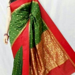 Kolka Design Silk Saree (Deep Green,Red)