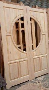 Mahogany Light Brown Solid Wooden Door