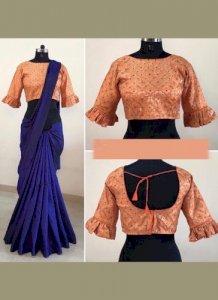 Non Catalog Plain Sarees with Designer Blouse
