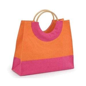 Pink And Orange Jute Fashion Bag