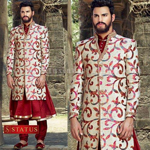 Offwhite Colour Designer Sherwani Suit