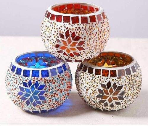 Mosiac Work Glass Votives