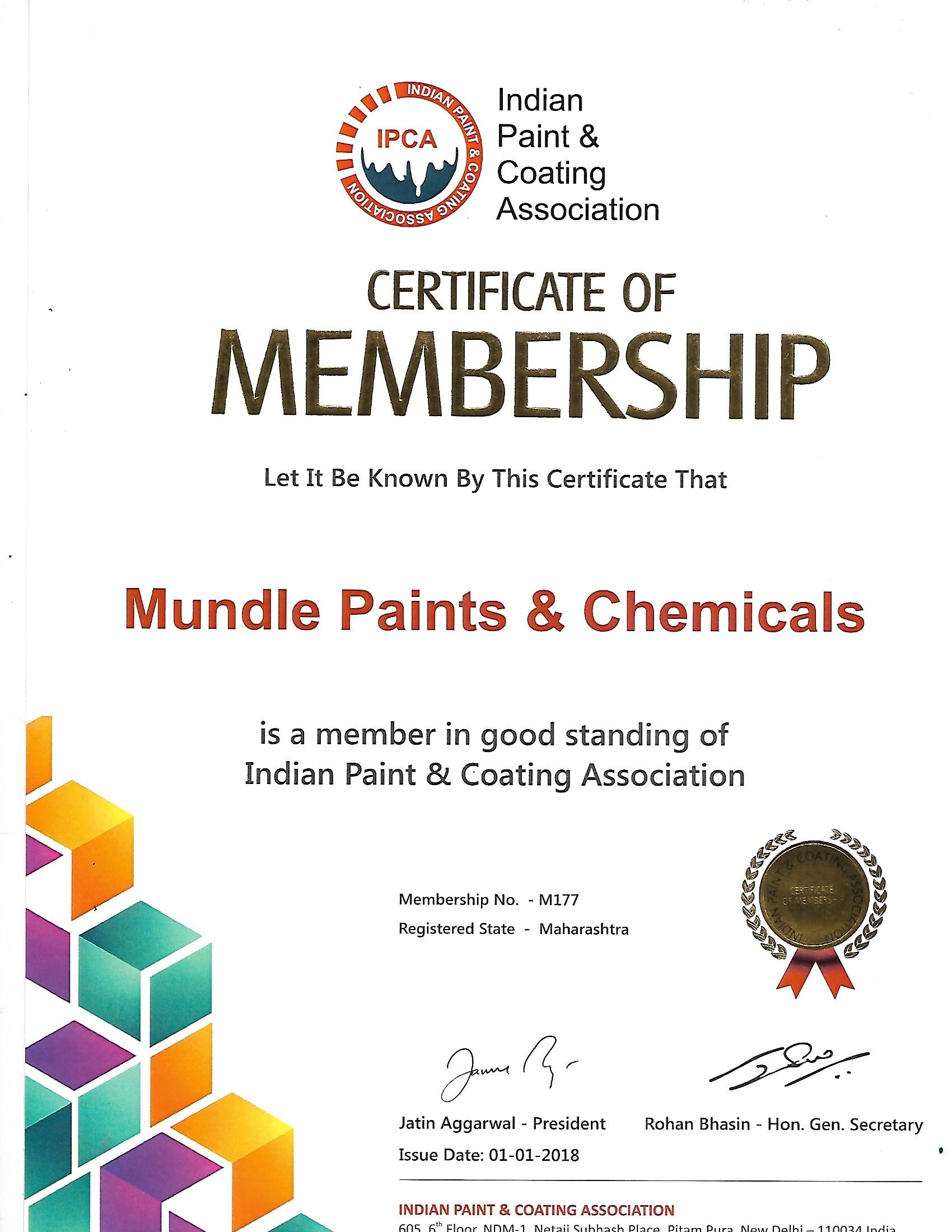 Articles: Certification IPCA for MUNDLE PAINTS & CHEMICALS