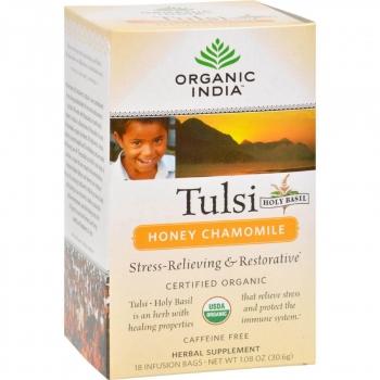 Tulsi Honey Camomile Tea 18 Bags-Organic India