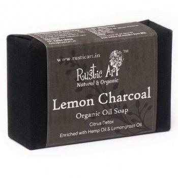 Lemon Charcoal Soap 100 Gms - Rustic Art