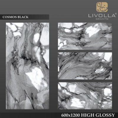 COSMOS BLACK - 600x1200(60x120) HIGH GLOSSY PORCELAIN TILE
